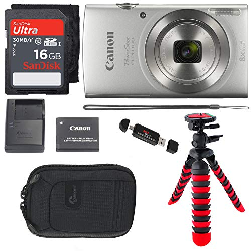 Canon PowerShot ELPH 180 Digital Camera with is and Smart AUTO Mode (Silver), SanDisk Ultra 16GB, Camera Case and Premium Accessory Bundle