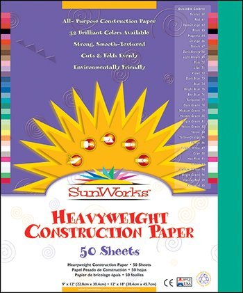 Paper Recycled Construction - SunWorks 8003 Construction Paper, 58 lbs, 9 x 12, Holiday Green, 50 Sheets/Pack