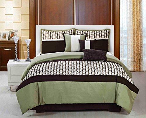 (7 Piece Queen Size Modern Quatrefoil ELSA Sage Green/Brown / Beige Embroidered Comforter Set with Accent)