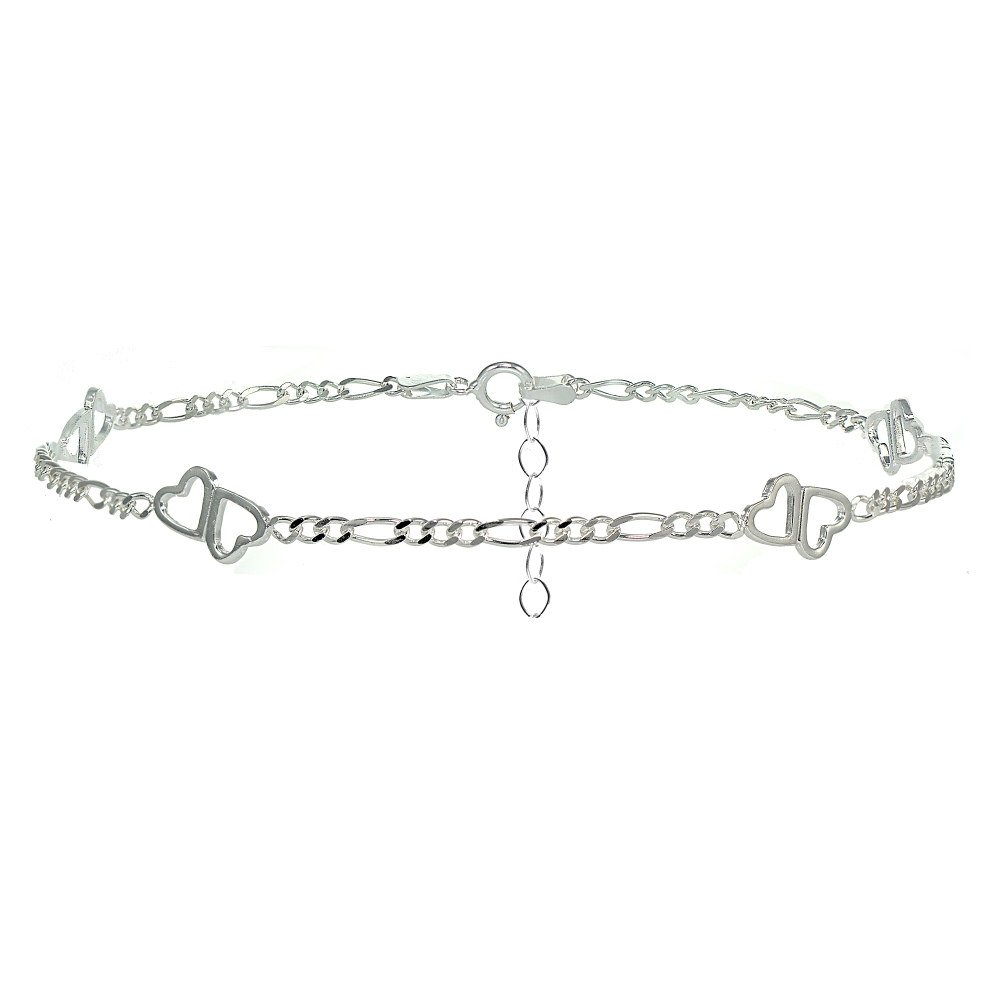 Hoops & Loops Sterling Silver Figaro Chain with Double Heart Bracelet for Anklet