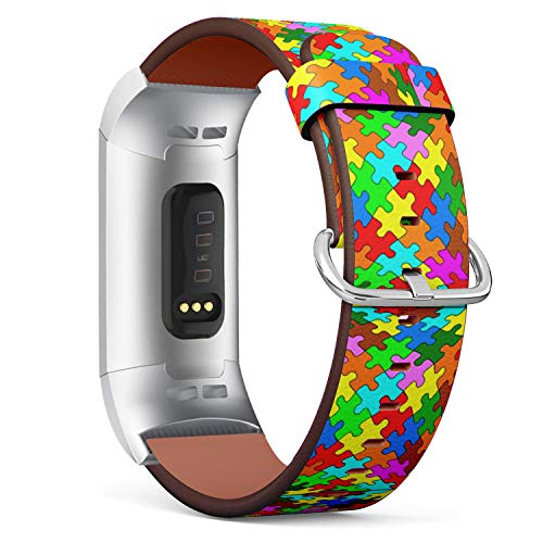 - Compatible with Fitbit Charge 3 / Charge 3 SE - Leather Band Bracelet Strap Wristband Replacement with Adapters - Jigsaw Puzzle
