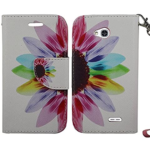 SOGA PU Leather Magnetic Flip Design Wallet Case for LG Ultimate 2 / L41C - Colorful Sunflower (Lg L41c Phone Case Wallet)