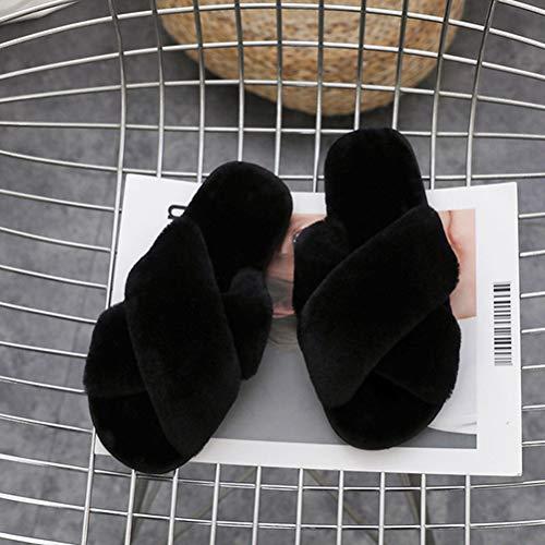 Pantoufles dérapant B Croix Hiver Plat Chaussons Maison Anti Féminin Liuhoue 8AvYax