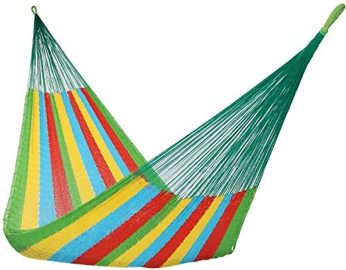 Sunnydaze Hand-Woven Portable Mayan Hammock – Family Size Hammock for Backyard Patio – Heavy Duty 660-Pound Capacity – Multi-Color