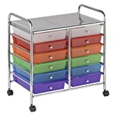 ECR4Kids 12-Drawer Mobile Organizer, 25.75'' H, Assorted Colors