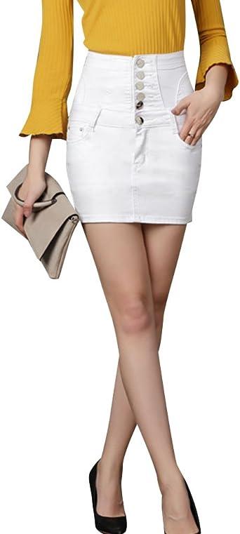 Falda Vaquera De Mujer Cintura Alta Vendajes Elasticidad Mini ...