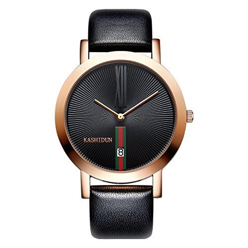 KASHIDUN Men's Watches Casual Analog Quartz Waterproof Date Rose Gold Case Black Dial SQ1-JH