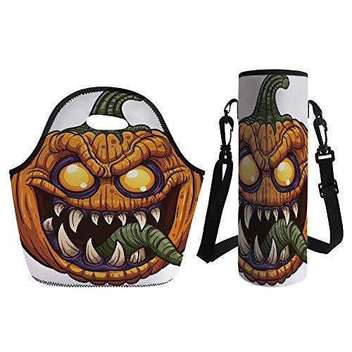 3D Print Neoprene lunch Bag with Kit Neoprene Bottle Cover,Halloween,Scary Pumpkin Monster Evil Character with Fangs Aggressive Cartoon,Purple Orange Dark Green,for Adults Kids