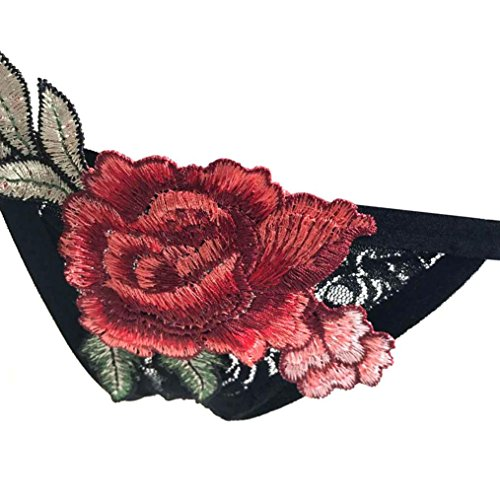 SMARTLADY Mujer Tangas Apliques de encaje Rose Bragas Negro