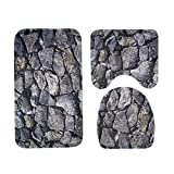 Matefield 3pcs/set Rock Printed Non Slip Water Absorb Floor Rugs Carpet Bath Mats Pad