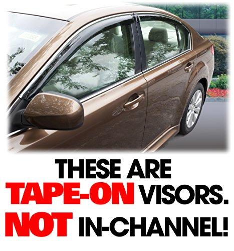 C&C Car Worx set of 4 WV-LS-10-TF Tape-On Outside-Mount Side Window Visor Rain Guard Deflectors for 2010 2011 2012 2013 2014 Subaru Legacy (Chrome Subaru Legacy Trim)