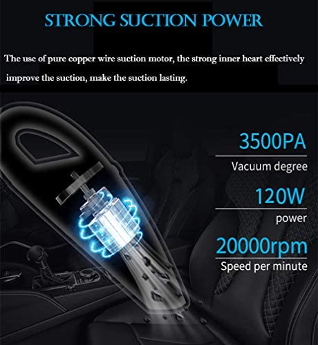 Car Vacuum Cleaner, Xndryan Handheld Vacuum Cleaner Powerful Car Hoover Portable Hand held Hoover Rechargeable Wet Dry Cordless Vacuum for Car, Kitchen, Office, Pet Area