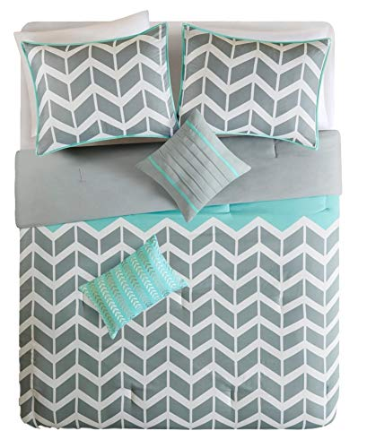- D.I.D. Modern Grey and White Chevron Stripes with Aqua Accents Comforter Bedding Set (twin/twin xl)