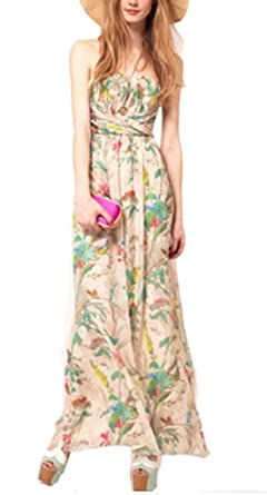 St L Amour Women S Stylish Strapless Floral Print Maxi Dress For