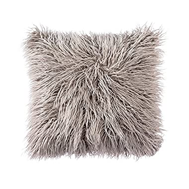 OJIA Deluxe Home Decorative Super Soft Plush Mongolian Faux Fur Throw Pillow Cover Cushion Case (20 x 20 Inch, Grey)
