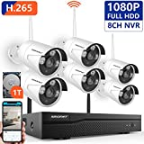[Expandable System]Wireless Security Camera System,SMONET 8CH 1080P H.265 Wireless NVR System with 6pcs 2.0MP IP Cameras and 1TB Hard Drive Pre-installed,P2P, 65ft Night Vision,Easy Remote Monitoring