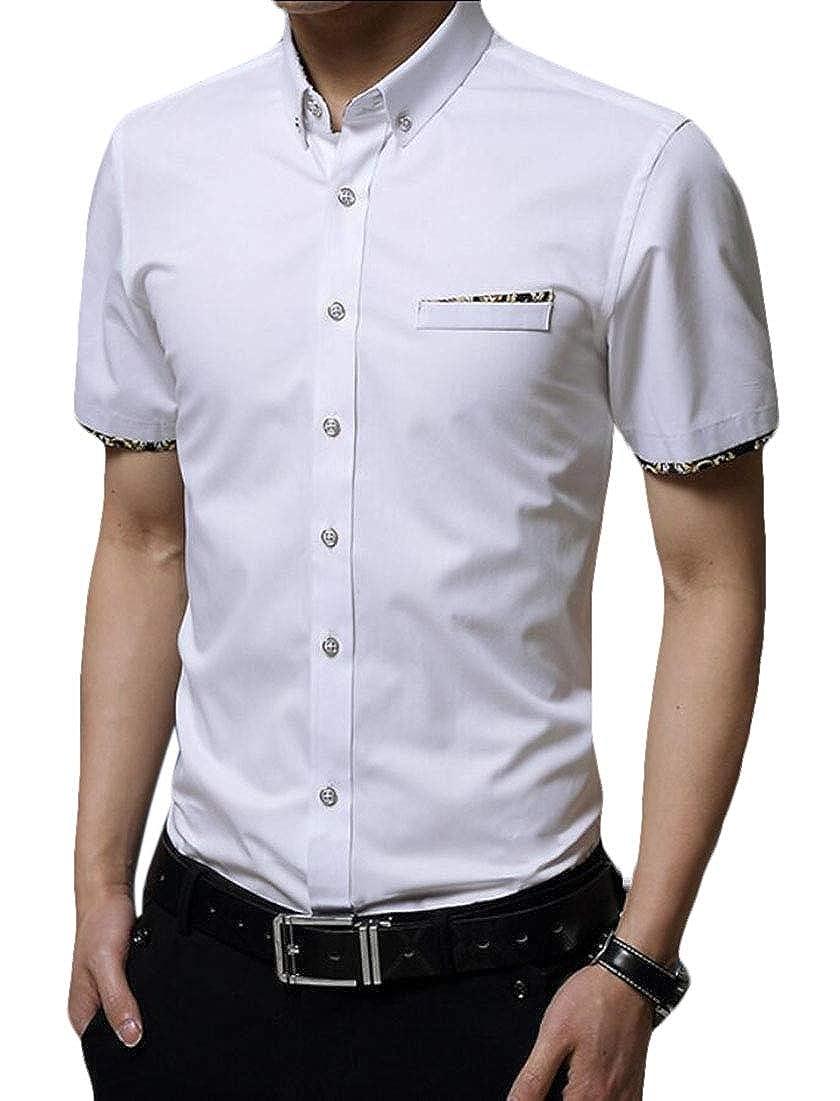 yibiyuan Men Fashion Dress Shirts Casual Short Sleeve Business Button Down Shirts