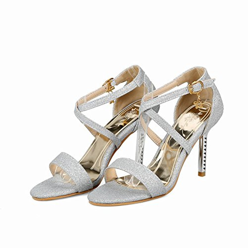 Women's Sandals Shining Shoes Silver Stiletto Buckle Mee P7qxz58nw