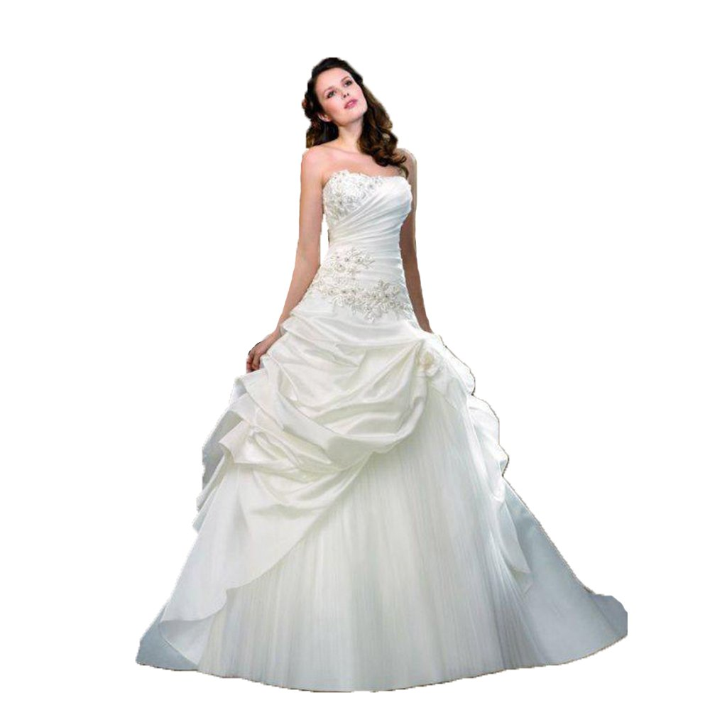 Newdeve Off the Shoulder Ruffle White Taffeta Wedding Gown with Applique