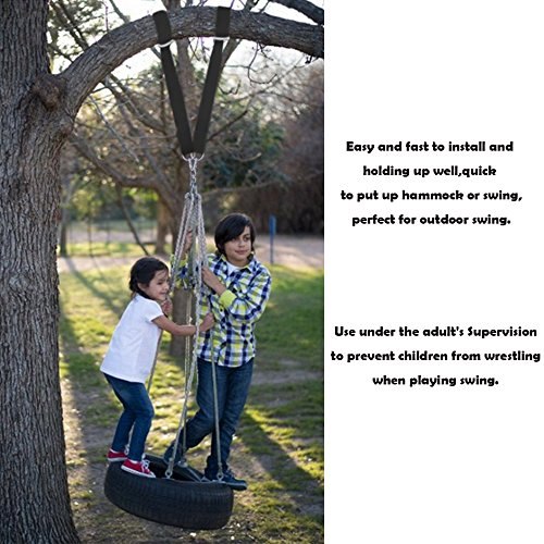 Sealive Black Tree Hanging Straps Nylon Swings with Hammock Straps,Outdoor Camping Hiking Travel Accessories Include 2 Ultralight Suspension Straps +4 M8 Lock Snap Carabiner Hooks +1 Beam Pocket by Sealive