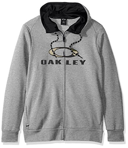 Oakley Men's Combat FZ Hoodie, Athletic Heather Grey, - Mens Clothing Oakley