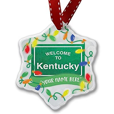Personalized Name Christmas Ornament, Green Road Sign Welcome To Kentucky NEONBLOND