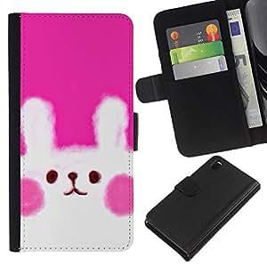 KLONGSHOP // Tirón de la caja Cartera de cuero con ranuras para tarjetas - Furry Rosa Blanco Dibujo lindo - Sony Xperia Z3 D6603 //