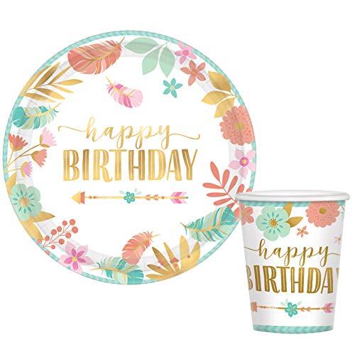- Amscan Boho Birthday Girl Round Metallic Plates, 10.5