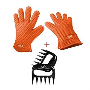 Oursmile Barbecue Gloves & Pulled Pork Claws Set ,Silicone Heat Resistant Grilling Accessories & Home Kitchen Tools For Your Indoor & Outdoor Cooking Needs , Use as BBQ Meat Turner or Oven Mitts
