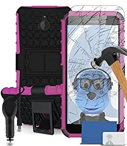 iTALKonline Microsoft Lumia 640 XL Pink Black Tough Hard Shock Proof Rugged Heavy Duty Case Cover with Viewing Stand and Tempered Glass Protective LCD Screen Protector with MicroFibre Polishing Cleaning Cloth Application Card and 1000 mAh MicroUSB In Car Charger