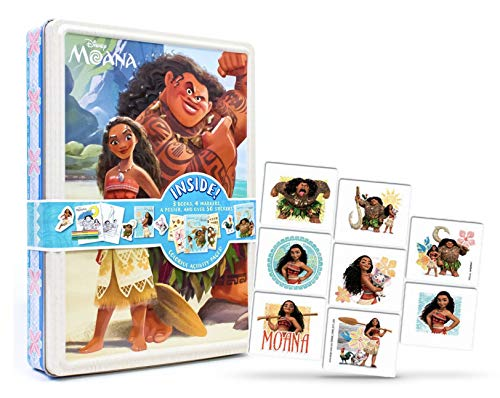 Moana Fun Activity Coloring Books Stickers Collection Set in a Box and Temporary Tattoo Bundle Pack for Toddlers Children Kids