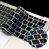 """Lenfech Cubre Teclado Compatible con MacBook Mac Book Air 2018 13"""" 15"""". Protector / Funda para Teclado en español de Silicón / Silicona. Cubreteclado de protección. Disponible en Negro y Transparente. (Negro)"""