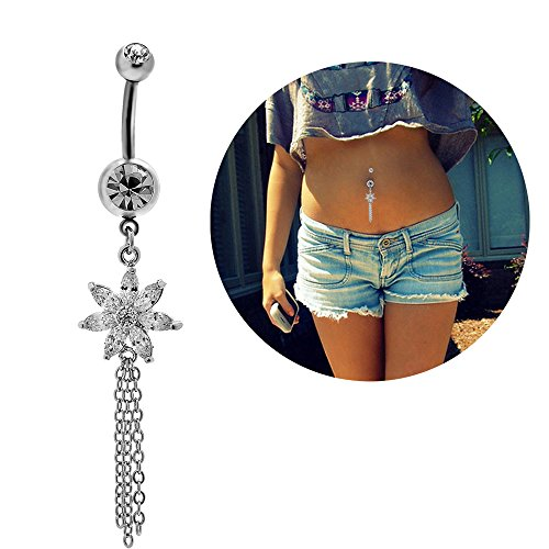 Dangle Curved Barbell (Belly Button Navel Ring Surgical Steel Crystal Flower Dangle Curved Barbell Bar Body Piercing Jewelry)