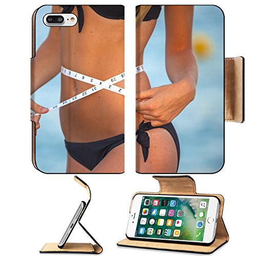 Luxlady Premium Apple iPhone 7 Plus Flip Pu Leather Wallet Case iPhone7 Plus 21025182 slim healthy woman with tape measure on - Hairstyles Thin Faces Best For