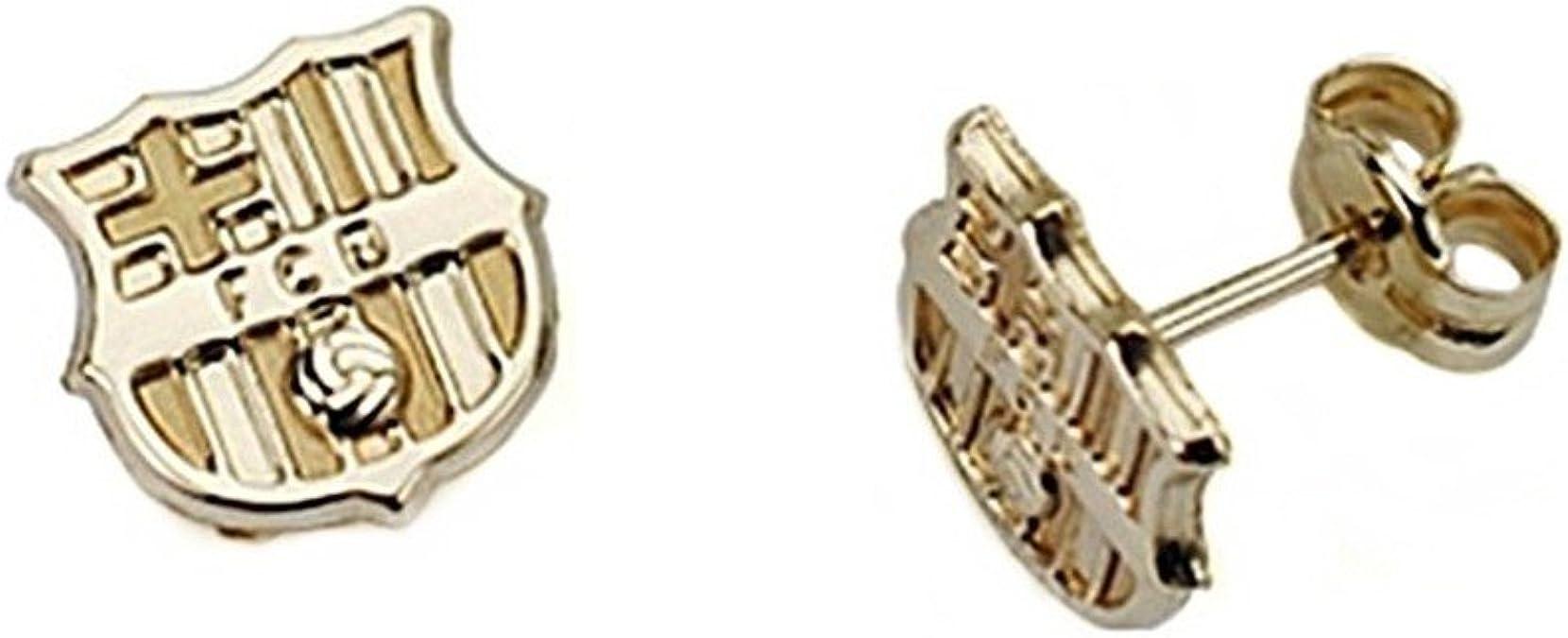 Pendientes escudo F.C. Barcelona oro de ley 9k liso [6553] - Modelo: 0510-048-L: Amazon.es: Joyería