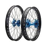 HUSQVARNA FC FE FX TC TE TX 125 150 250 300 350 450 501 Tusk IMPACT Complete Front/Rear Wheel Kit 21''/18'' Black Rim/Silver Spoke/Blue Hub