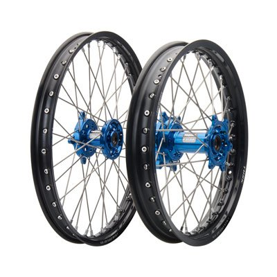 HUSQVARNA FC FE FX TC TE TX 125 150 250 300 350 450 501 Tusk IMPACT Complete Front/Rear Wheel Kit 21''/18'' Black Rim/Silver Spoke/Blue Hub by Tusk (Image #1)