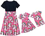 Qin.Orianna Mommy and Me Summer Casual Floral Printed Family Matching Beach Midi Dresses for Easter and Mother