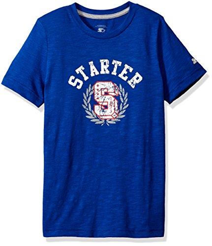 Distressed Emblem T-shirt - Starter Boys' Short Sleeve Distressed Emblem Logo T-Shirt, Amazon Exclusive, Team Blue, XS (4/5)