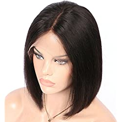 GRACE PLUS Short Bob Wigs Brazilian Remy Hair Straight 13x4 Lace Front Human Hair Bob Wigs for Women 130% Density Pre Plucked with Baby Hair Natural Color (12 Inch)