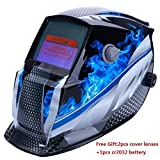 Z ZTDM Welding Helmet Mask Solar Auto Darkening,Adjustable Shade Range DIN 9-13/Rest DIN 4,Welder Protective Gear ARC MIG TIG,2pcs Extra Lens+CR2032 Battery,CE EN379 ANSI Z87.1 Approved (Blue Racer)