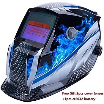 Z ZTDM Welding Helmet Mask Solar Auto Darkening,Adjustable Shade Range DIN 9-13/Rest DIN 4,Welder Protective Gear ARC MIG TIG,2pcs Extra Lens+CR2032 Battery,CE EN379 ANSI Z87.1 Approved (Blue Racer)