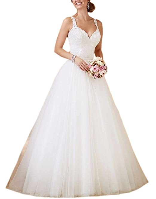 6fab2829a7a APXPF Women s A line Two Pieces Lace Wedding Dress with Detachable Tulle  Skirt Ivory US2