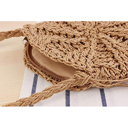 Gespout.Bolso Simple Redondo con Flecos para Paja Colgado de Paja Hecho a Mano Bolso Tejido Bolso de Playa de Verano Size 20cm Beige
