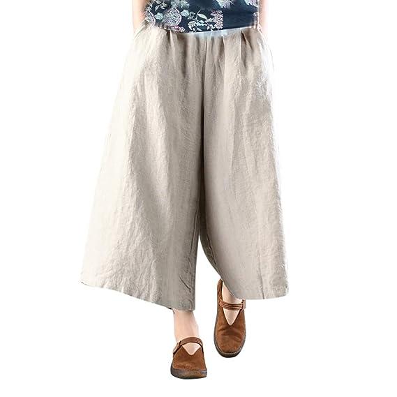 58a613d0c157 Luckycat Pantalones De Lino Mujer Verano Ropa Lino Mujer Pantalon ...