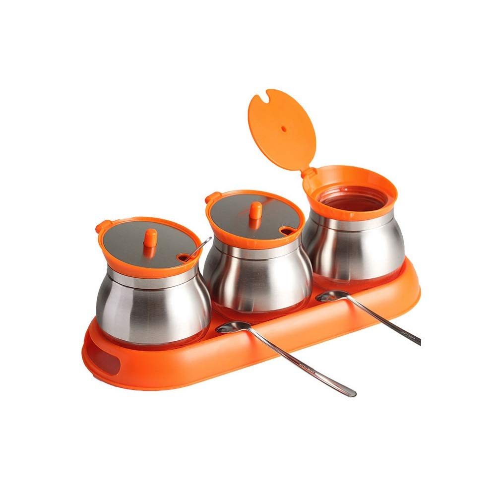 MINGRUIGONGMAO Seasoning Seasoning Box - 3 orange stainless steel seasoning jars with stainless steel lid, 3 stainless steel spoons and orange plastic tray. Plush toys (Color : Orange) by MINGRUIGONGMAO