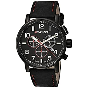 Wenger Men's 'Attitude Chrono' Swiss Quartz Stainless Steel and Leather Casual Watch, Color:Black (Model: 01.0343.104)