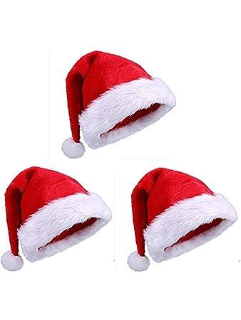 254335d38aafd Bhwin 3 Pack Santa Hat Adult Size Winter Plush New Years Xmas Christmas  Party Santa Hats