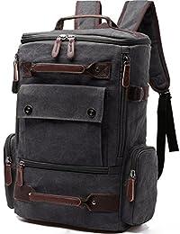 Aidonger Canvas and Leather Chest Bag Bodybag Shoulder Bag Backpack (Black)