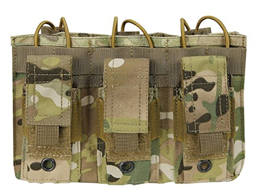 (Aoutacc Double/Triple Tactical Mag Pouch, Double Stack Pouch Can Hold Kangaroo Rifle Magazines and Pistol Mag)